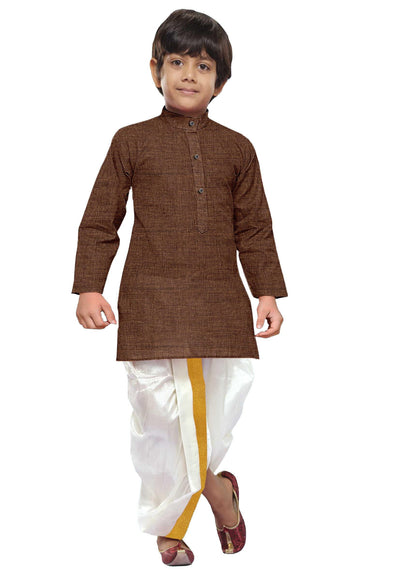 Brown Kids Kurta + Panchakacham 2in1 Set