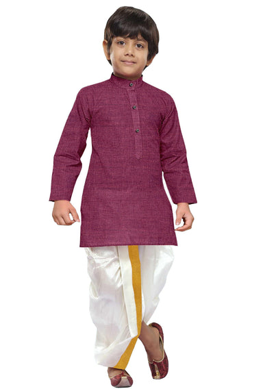 Dark Rose Kurta Kids Panchakacham Set 2 In 1