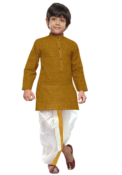 Golden Rod Kids Kurta + Panchakacham 2in1 Set