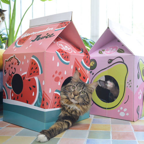 Juice box cat house
