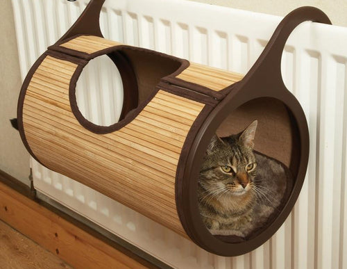 Bamboo hanging radiator cat bed - party-paw