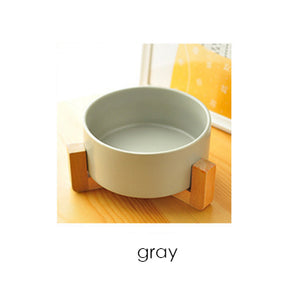 Japanese style ceramic & wood pet bowl - party-paw