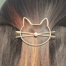 Load image into Gallery viewer, Cat pearl hair clip barrette