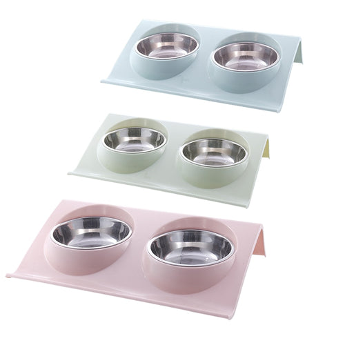 Stainless steel double pet bowl - party-paw