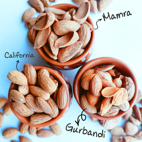 various types of almonds are shown - specifically mamra, gurbandi and california