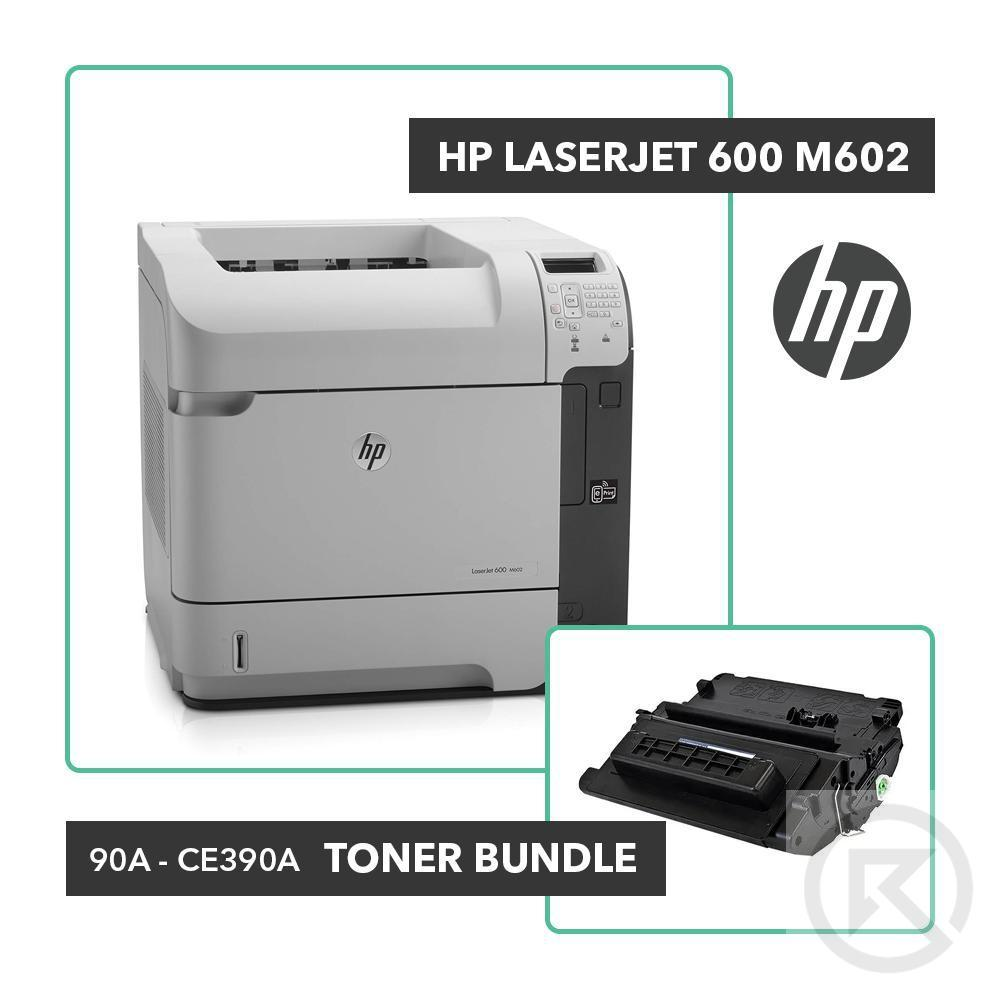 HP LaserJet 600 M602 Printer Toner Bundle W/ HP OEM 90A CE390A-Printer-RefurbConnect-Refurbished-Computers-Laptops-Printers-New York