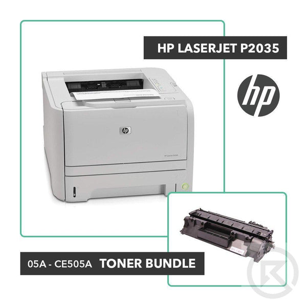 HP LaserJet P2035 Printer Toner Bundle W/ HP OEM 05A CE505A-Printer-RefurbConnect-Refurbished-Computers-Laptops-Printers-New York