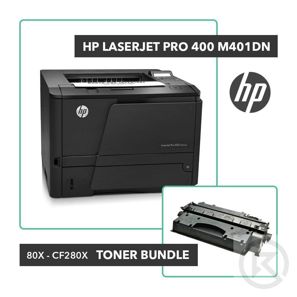 HP Laserjet Pro 400 M401dn Printer Toner Bundle W/ HP OEM 80X CF280X-Printer-RefurbConnect-Refurbished-Computers-Laptops-Printers-New York