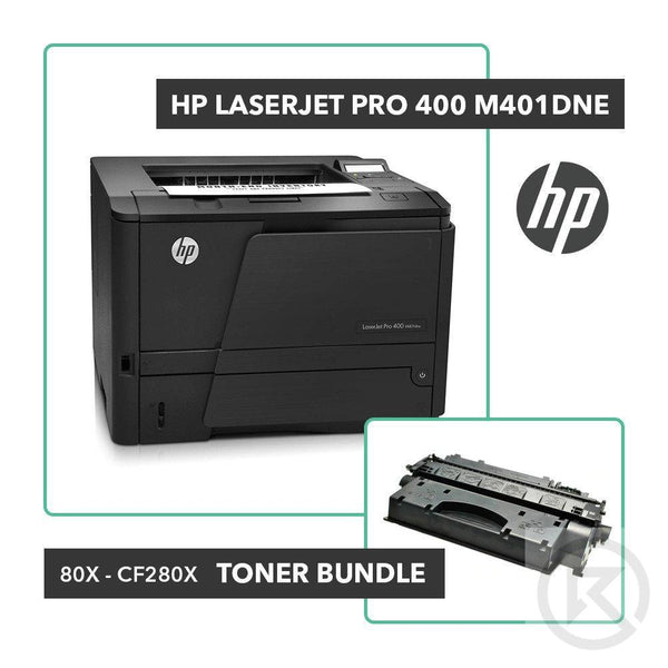 HP Laserjet Pro 400 M401dne Printer Toner Bundle W/ HP OEM 80X CF280X-Printer-RefurbConnect-Refurbished-Computers-Laptops-Printers-New York