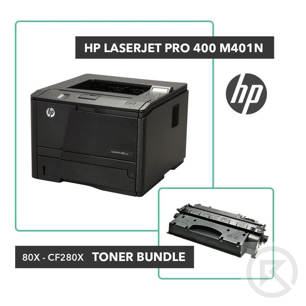 HP LaserJet Pro 400 M401n Printer Toner Bundle W/ HP OEM 80X CF280X-Printer-RefurbConnect-Refurbished-Computers-Laptops-Printers-New York