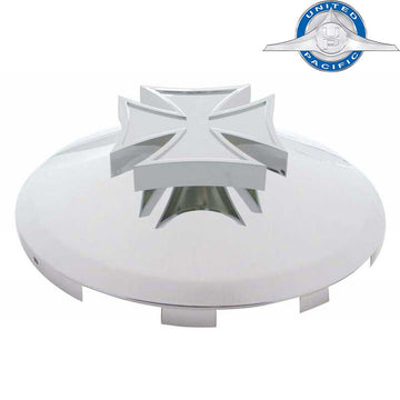 6 Uneven Front Hub Cap with Iron Cross Spinner 7/16 Inch Lip