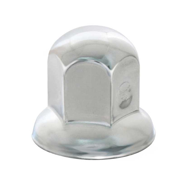 "Chrome Steel 1 1/16"" Push-On Standard Lug Nut Cover W/ Flange"