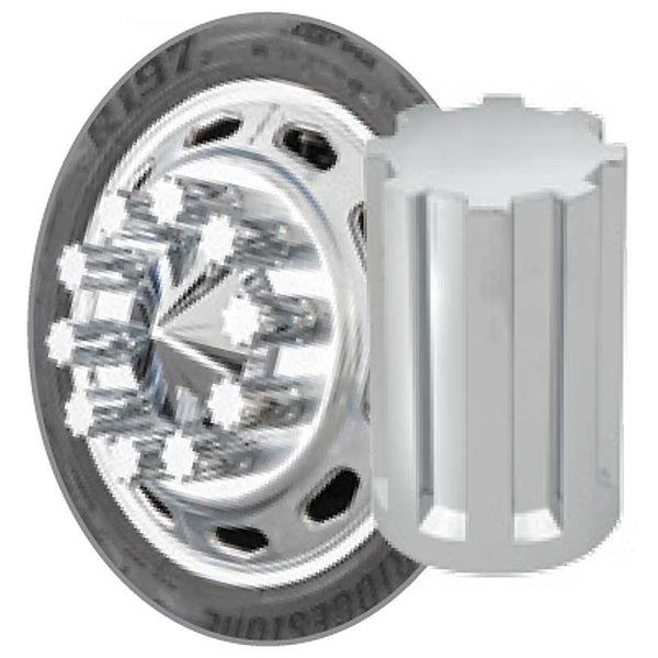 "Chrome 33mm x 3 1/2"" Gear Style Nut Cover in Push or Thread On"
