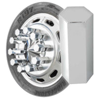 "Chrome 33mm x 5"" Hex Flat Top Nut Cover in Push or Thread On"