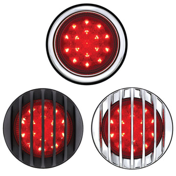 17 LED Chrome Tail Light Assembly With Flush Mount Bezel - Red LED / Red Lens