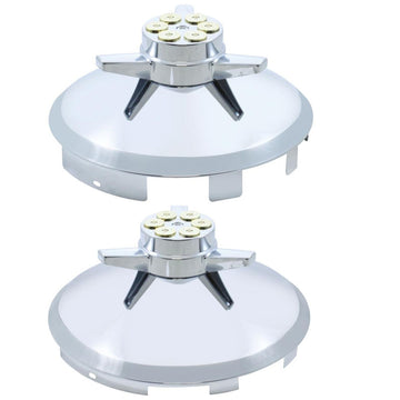 6 Uneven Notched Stainless Front Hub Cap With Gun Cylinder Spinner