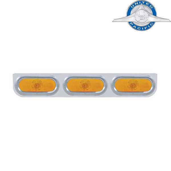 Stainless Light Bracket With Three - 6 Inch Oval Lights And Visors With Amber Lens