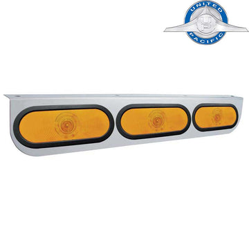 Stainless Light Bracket With Three - 6 Inch Oval Lights And Grommets - Amber Lens