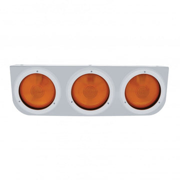 Stainless Light Bracket With Three - 4 Inch Lights And Bezels - Amber Lens