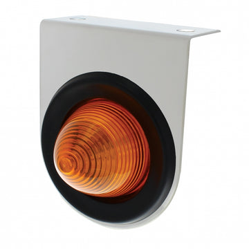 Stainless Light Bracket With 2 1/2 Inch Beehive Light And Grommet - Amber Lens