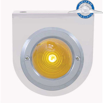 Stainless Light Bracket With 2 Inch Beehive Light And Bezel With Amber Lens