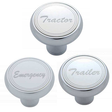 Chrome Air Valve Knob Stainless Plaque Cursive in Screw Mount