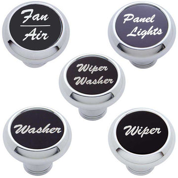Small Chrome Deluxe Knob Aluminum Sticker in 5 Scripts