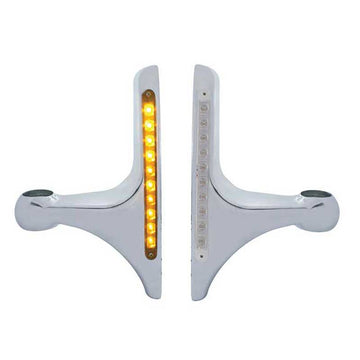 10 Amber LED Light Bar Peterbilt Aluminum Headlight Bracket