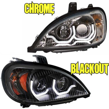 Columbia Projection Headlight w/LED Light Bar 1996+ Chrome or BO