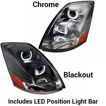 Volvo VN/VNL Projection Headlights w/LED Light Bar 2004+