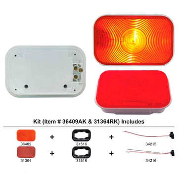 Rectangular Stop, Turn And Tail Light Kit With Red Lens