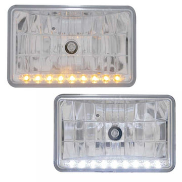 6 By 4 Inch Rectangular Halogen Headlights With LED Position Lights