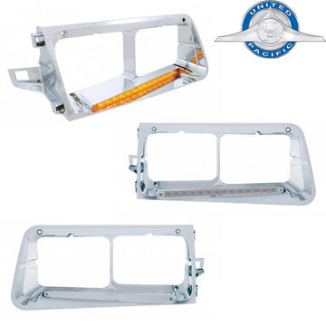 Freightliner FLD 14 Amber LED Headlight Bezel in 6 Options