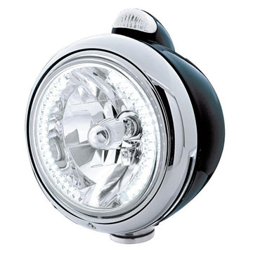 Black Guide Headlight With 34 White LEDs And LED Turn Signal