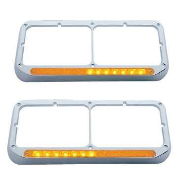 Sequential LED Dual Headlight Bezel Amber LED/Amber Lens