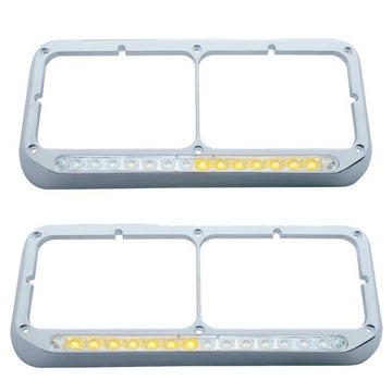 Sequential LED Dual Headlight Bezel Amber LED/Clear Lens