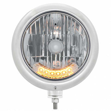 "7"" Classic Headlight w/ 6 Amber Auxiliary LED"