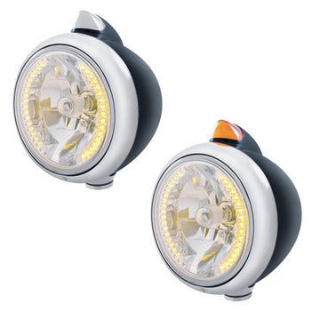 Black Guide Headlight With 34 Amber LED And Dual Function LED Turn Signal
