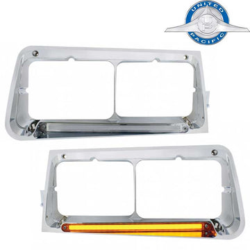 24 Amber LED FLD Rectangular Dual Headlight Bezel