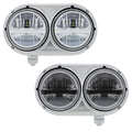 Peterbilt 359 Style Stainless Steel Dual Headlight With 8 High Power LED Bulb