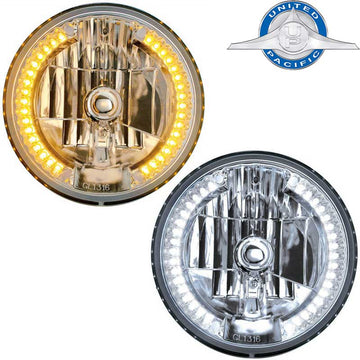 34 LED 7 Inch Round Crystal Headlight Bulb in Amber or White LED