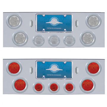 Chrome Rear Center Panel With 7 LED 4 Inch Reflector And 13 LED 2 1/2 Inch Lights
