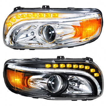 Peterbilt 388 And 389 2008 And Newer Projection Headlight With LED Position And Turn Signal Lights