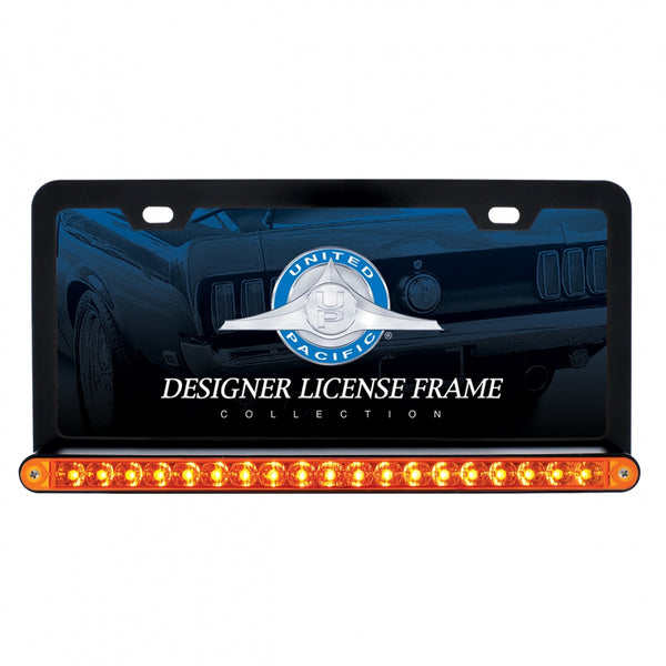 Black License Frame with 19 LED 12 Inch Reflector Light Bar
