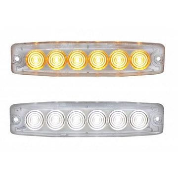 6 LED 5 Inch Warning Light w/ 23 Flash Pattern in Amber or White