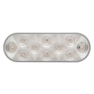 10 LED 6 Inch Oval Utility Light With White LEDs And Clear Lens