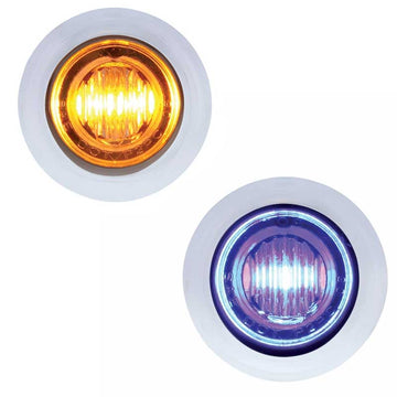 Amber/Blue 3 LED Dual Color Mini Clearance/Marker Light
