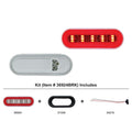 6 Inch Oval GLO Stop, Turn And Tail Light Kit With Red LED And Lens