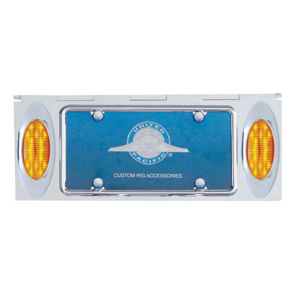 Stainless 1 License Plate Holder w/ Two 16 LED Lights & Frame