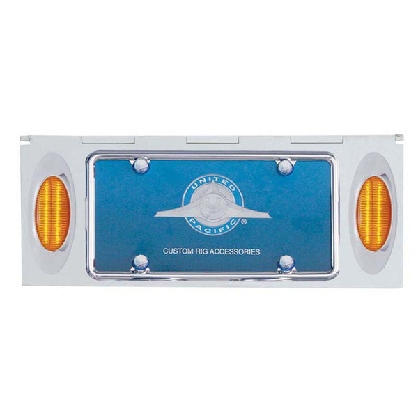 Stainless 1 License Plate Holder w/ Two 12 LED Lights & Frame